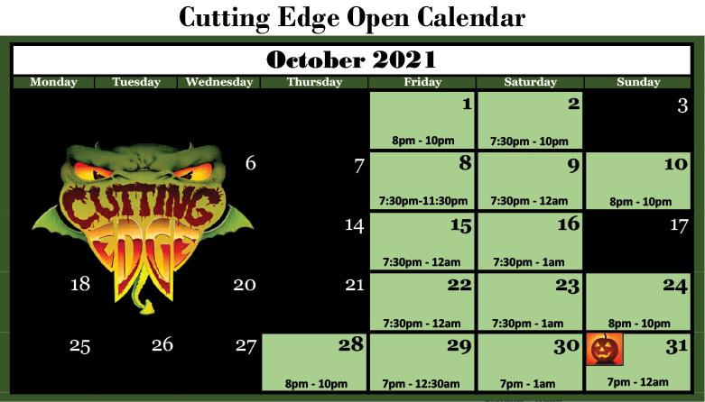 2021 CUTTING EDGE HAUNTED HOUSE OPEN DATES CALENDAR